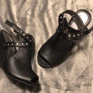 Sexy studded wedge heels
